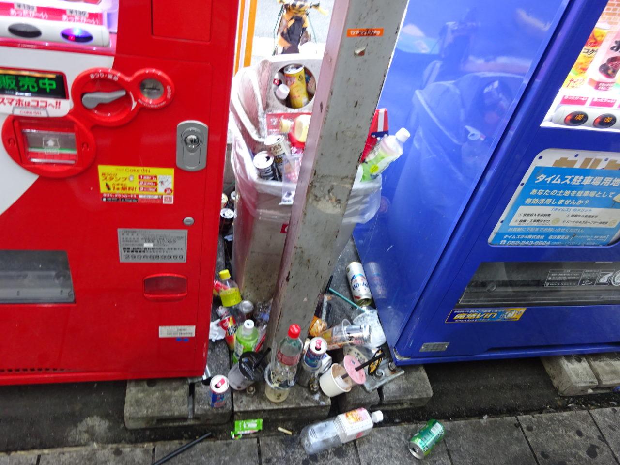溢れるゴミ箱